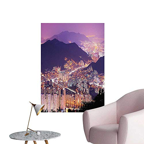 (Wall Stickers for Living Room Busan South Korea Modern Cityscape Night Light Build gs Hills Purple Vinyl Wall Stickers Print,32