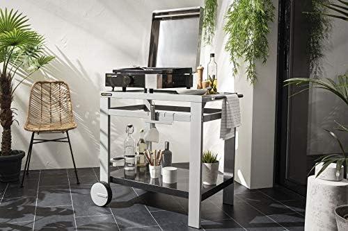 Cook'in Garden - Plancha électrique 2500W avec capot, plaque en fonte émaillée, tiroir récupérateur de graisse et thermostat 5 positions