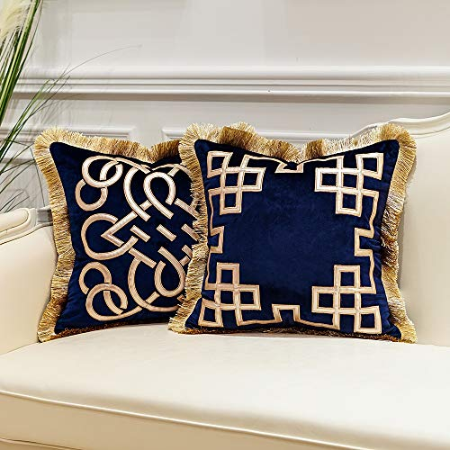 Avigers Pack of 2 Luxury Navy Blue Decorative Pillows with Tassels 20 x 20 Inches Square Chain Velvet Throw Pillow Covers Cushion Cases for Sofa Bedroom Living Room Car 50 x 50cm