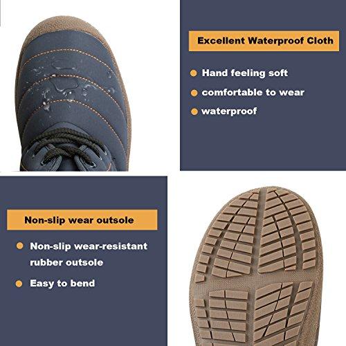 JOINFREE Unisex Warm Plüsch Futter Slip On Flat Ankle Schnee Stiefel Winter Warme Schuhe Strap_blau