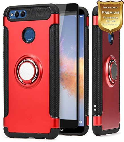 NageBee For Huawei Honor 7X Case, Huawei Mate SE Case w/[Full Coverage Tempered Glass Screen Protector] [360 Rotating Metal Ring Holder Kickstand] Heavy Duty Defender Dual Layer Protector Case -Red