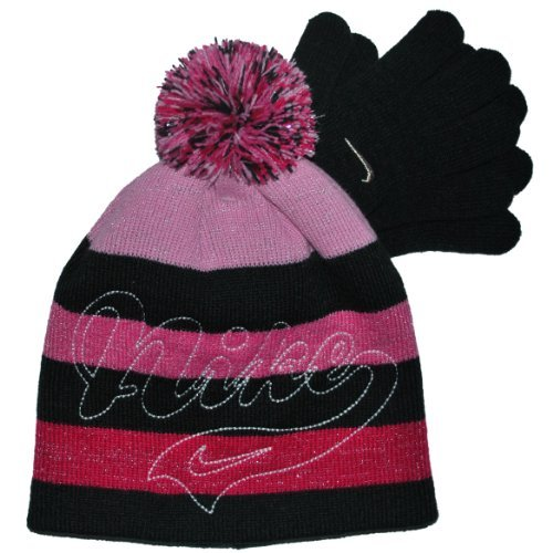 Nike Girls 4-16 Striped Hat & Glove Set in Assorted Colors (4-6X (One Size), Black)