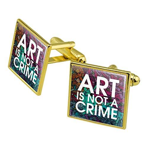Art Is Not A Crime Graffiti Square Cufflink Set Gold Color