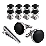 Aeici Men¡¯s Cufflinks & Studs Set, Stainless Steel with Bullet Back Closure Business