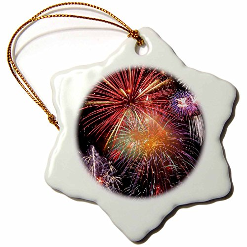 3dRose orn_14247_1 Fireworks Display Porcelain Snowflake Ornament, 3-Inch