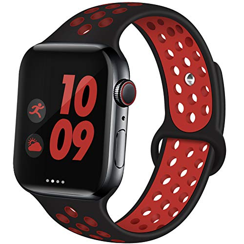EXCHAR Sport Band Compatible with Apple Watch Band 44mm 42mm Breathable Soft Silicone Replacement Wristband Women and Man for iWatch Series 4 3 2 1 Nike+ All Various Styles S/M Black-Red