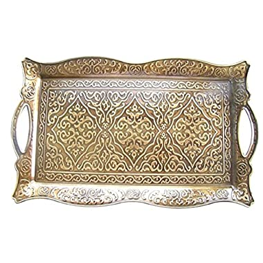 Vintage Style Copper Turkish Ottoman Coffee Tea Beverage Serving Tray 10 in x 16 in