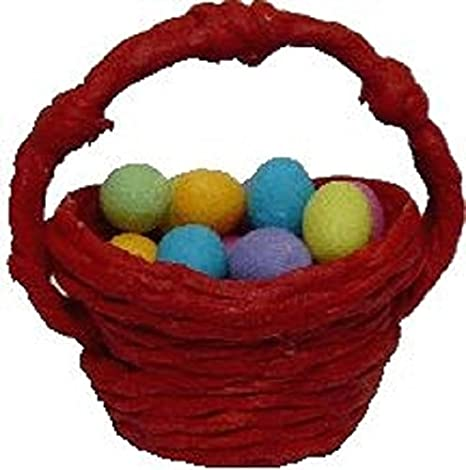 Dollhouse Miniature Easter Eggs in a Red Basket by Bright deLights