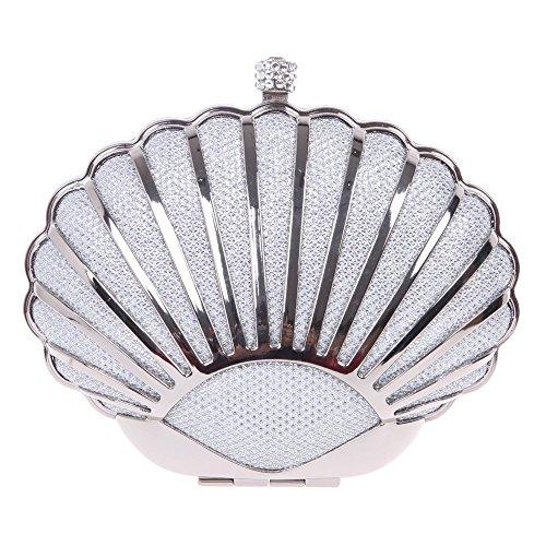 Damen Clutch Abendtasche Handtasche Geldbörse Luxus Funkelt Metall Muschel Tasche mit wechselbare Trageketten von Santimon(7 Kolorit) Silber