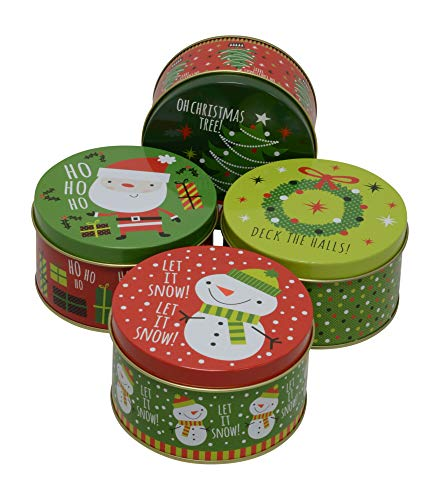 (Christmas Gift Tins, Small Box for Gift Card, Cookies or Candy (Set of 4) (Ho Ho Ho, Round 4.2
