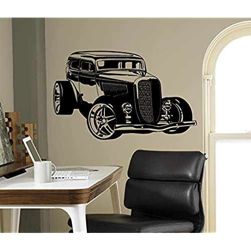 Classic car decor amazon roadster wall decal hot rod classic car vinyl sticker racing car home decor ideas wall art interior removable design 13crc teraionfo