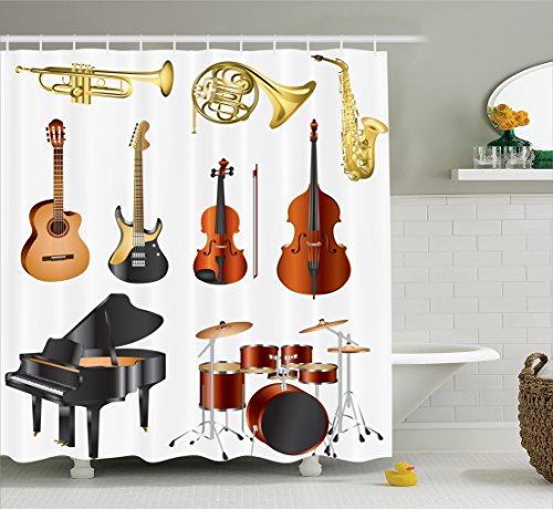 """Ambesonne Music Shower Curtain, Musical Instruments Symphony Orchestra Concert Composition Theme Colorful Pattern, Cloth Fabric Bathroom Decor Set with Hooks, 75"""" Long, Black Brown"""