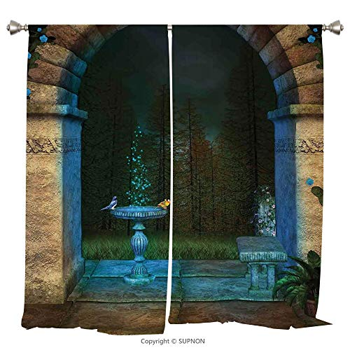 Rod Pocket Curtain Panel Thermal Insulated Blackout Curtains for Bedroom Living Room Dorm Kitchen Cafe/2 Curtain Panels/55 x 45 Inch/Gothic,Forest Landscape from Ancient Archway Birds on Fountain -