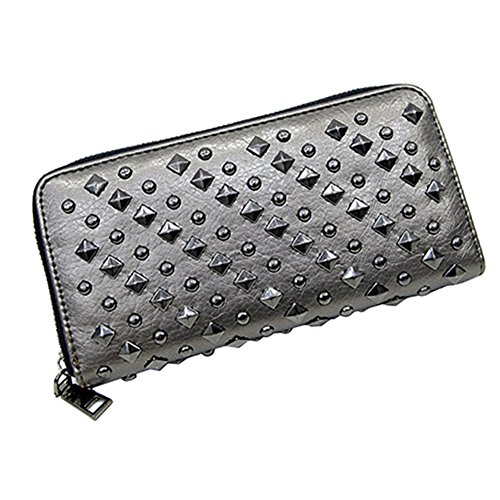 Cool Fashion Women Punk Style Spike Handbag Rivet Studded Long Wallet Phone Bag (Silver) ()