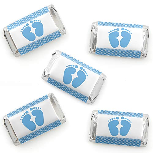 Baby Feet Blue - Mini Candy Bar Wrapper Stickers - Boy Baby Shower Small Favors - 40 Count -