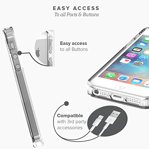 iPhone SE Case, fits iPhone 5s 5 SE (Clear) SaharaCase Protective Kit Bundled with [Tempered Glass Screen Protector] Slim Fit Rugged Protection Case Shockproof Bumper Hard Back (Clear) by Sahara Case (Image #5)