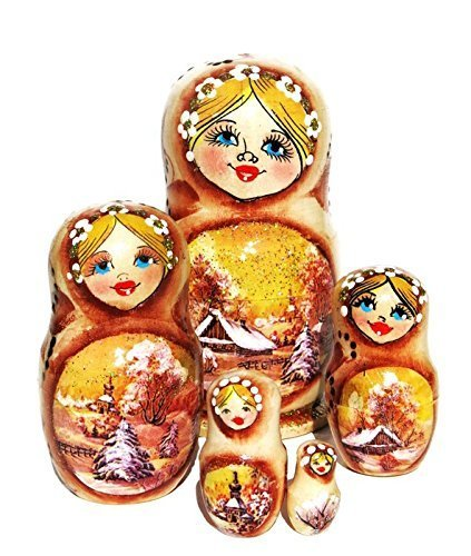Izba 5 Piece Sepia Russian Nesting Doll Autumn Landscape Wooden Babushka by GreatRussianGifts