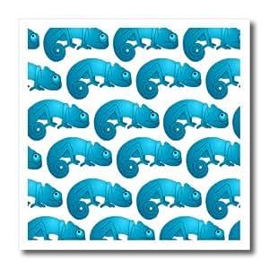 ht_35459_2 Janna Salak Designs Small Pets - Cute Light Blue Chameleon Print - Iron on Heat Transfers - 6x6 Iron on Heat Transfer for White Material