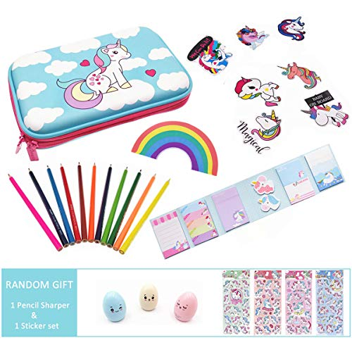 Cute Unicorn School Supplies for Girls, Unicorn Stationery, Unicorn Pencil Case, Pencils, Stickers and Rainbow Eraser, Christmas Gift for Girls - Hot Pink