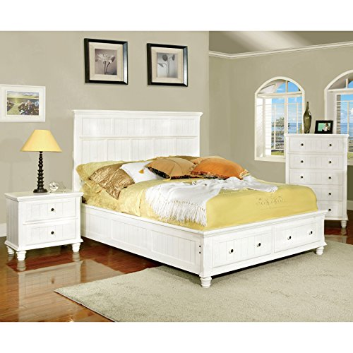 Furniture of America Rowena Adjustable Headboard, Full-to-Queen, White