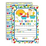 Taco Bout a Party Mexican Fiesta Party Invitations, 20 5''x7'' Fill in Cards with Twenty White Envelopes by AmandaCreation