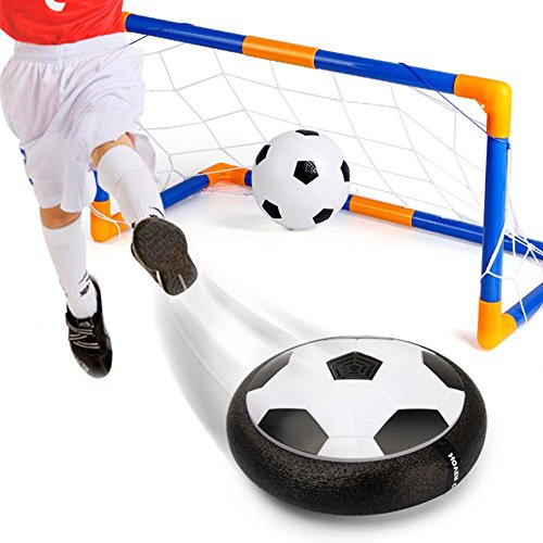 Hover Toys Soccer Ball Electric Air Power LED Light Football Disk Goal Gate Set for Indoor Outdoor Sport Training Kids Parents Game(Soccer Gate Set)