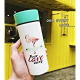 Lovely Flamingo Ceramic Mugs Vacuum Mug Travel Mugs Portable Bottles for Girls (Green1)