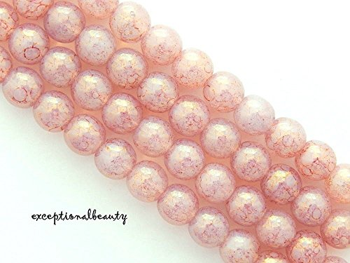 50 Preciosa Picasso Pink on White Opal Czech Druk Glass Marbled Round 8mm Beads