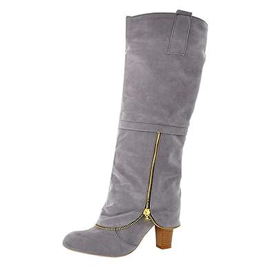 Stiefeletten Damen Schuhe ABsoar Boots Steampunk Lederstiefel Vintage Frauen Schnürer Langschaftstiefel Militärische Kampfstiefel Winter Bequem