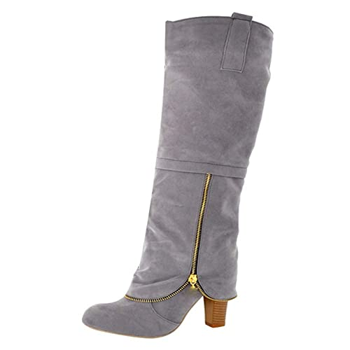 Botas para Mujer,Mujeres Zapatos de Cabeza Redonda Antideslizante Cremallera de la Rodilla-Alto Cuadrado Botas de tacón Alto Botines Mujer Invierno Otoño ...