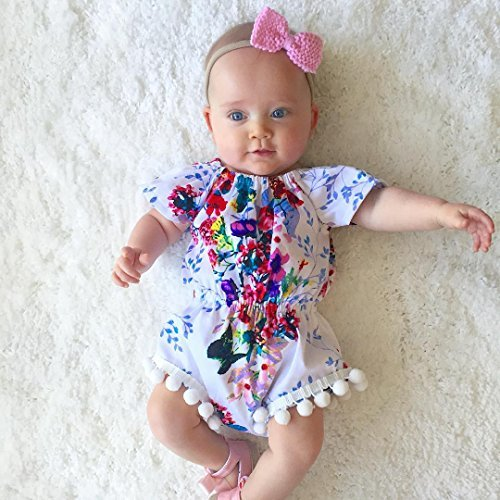 Newborn Kids Baby Girls Clothes Floral Jumpsuit Romper Playsuit + Headband Outfits (0-6 Months, White)