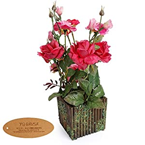 Yobansa Real Touch Artificial Flowers in Wooden Fence Pots Silk Artificial Rose Flowers Arrangement for Home and Wedding Decoration 113