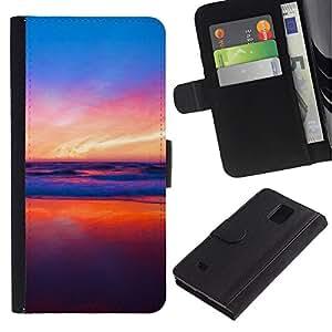 Protector de cuero de la PU de la cubierta del estilo de la carpeta del tirón BY RAYDREAMMM - Samsung Galaxy Note 4 IV - Colores en Sunset Beach