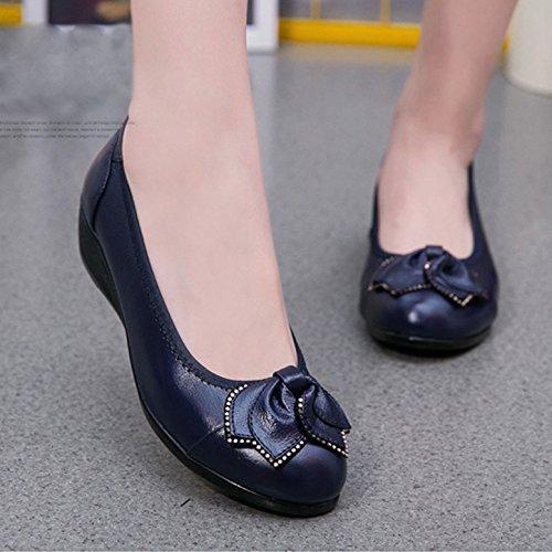 Mocasines Zapatillas De Ballet CHNHIRA Verano Azul Zapatos Cuero Mujer Zapatos Primavera Cómodo Cuero Zapatos Mujer De Redondo De Barco Cabeza De rCwrqTa