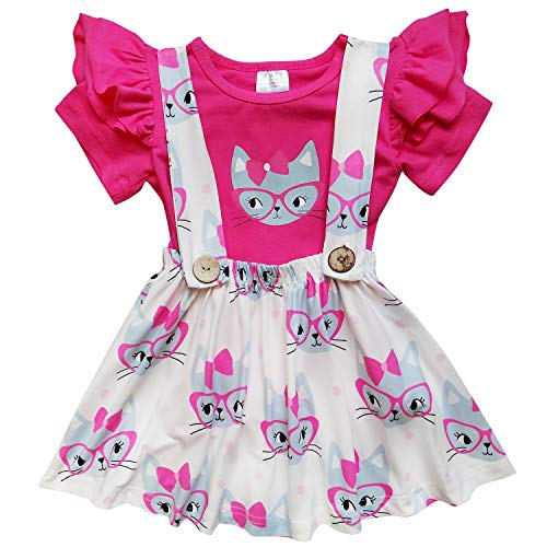 - So Sydney Toddler & Girls Apple Back to School Collection Skirt Set, Dress Outfit (XS (2T), Smart Kitty Suspender)