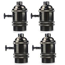Vintage Lamp Base Holder, MKLOT Ecopower Minimalist Vintage Retro Mini Pendant Light Fixture Black Finish Hanging Edison Bulb Light Screw Socket E26 Base with Switch, 4 Packs