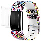 "Band for Fitbit Charge 2 with Screen Protectors, AFUNTA 1 Printing Design Silicone Adjustable Replacement Sport Wristband Strap Bracelet 6.5"" - 9.0"", with 3 Pack Anti-scratch TPU Protective Films for Charge2"