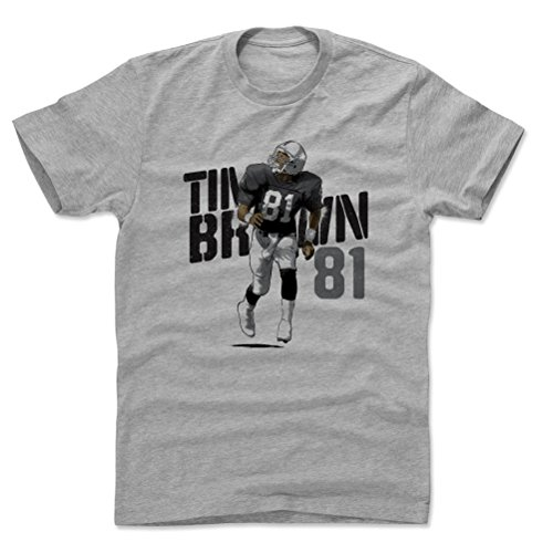 500 LEVEL Tim Brown Cotton Shirt (XX-Large, Heather Gray) - Oakland Raiders Men's Apparel - Tim Brown Stencil K