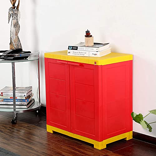 Cello Novelty Compact Plastic Cupboard with Shelf Red and Yellow