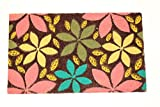 Home Garden Hardware 34000 Flowers & Leaves Printed Coir Doormat,Natural,Small
