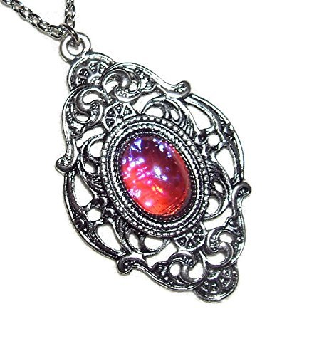 CZECH GLASS MEXICAN FIRE OPAL NECKLACE DRAGONS BREATH SILVER PLTD PENDANT AND CHAIN Victorian