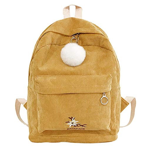 - Lyperkin Double-Shoulder Fashion Girl Corduroy School Bag Backpack Hairball Women Travel Shoulder Bag Durable Laptops Backpack Legant Casual Daypacks College School Computer Bag for Men Women N-08