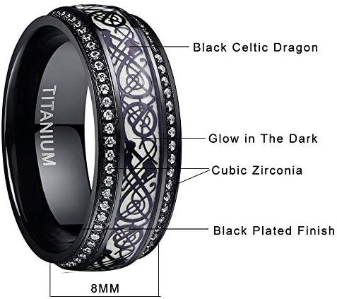 NUNCAD 8mm Glow Titanium Ring Celtic Dragon and Cubic Zirconia Inlay