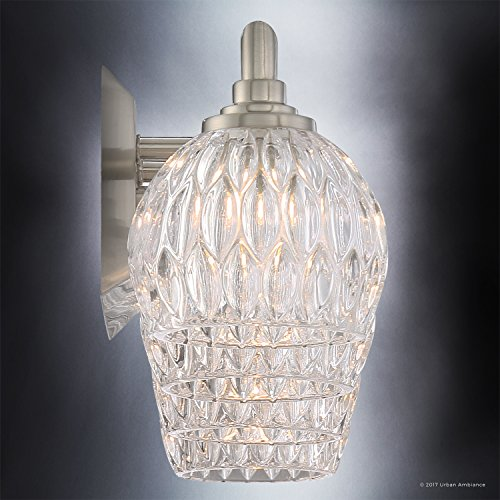 Luxury Crystal LED Bathroom Vanity Light, Large Size: 6.25''H x 28''W, with Classic Style Elements, Brushed Nickel Finish and Marquis Cut Glass Shades, G9 LED Technology, UQL2622 by Urban Ambiance by Urban Ambiance (Image #4)