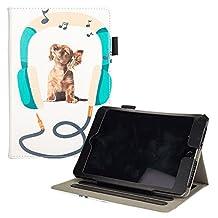 UUcovers iPad Mini Animal Case, Synthetic Leather Kickstand Smart Cover with [Auto Sleep/Wake Feature] [Stylus Holder] Cute Cartoon Shell for Apple iPad mini 1/2/3/4, Music Dog with Headphone