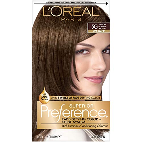 L'OrÃal Paris Superior Preference Fade-Defying + Shine Permanent Hair Color, 5G Medium Golden Brown, 1 kit Hair Dye 1 Count (Best Hair Dye For Asian Hair)