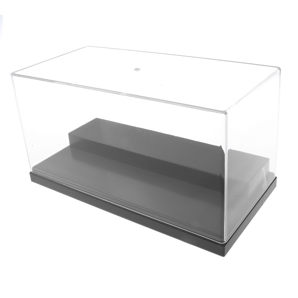 Homyl Clear Acrylic Display Show Case Box 2 Steps Perspex Dustproof Protection for Figures Diecast Vehicle Car Doll Model Figurine Collection (7.9*3.9*4.1 inches) Black