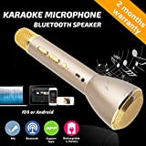 Wireless Microphone Karaoke, Portable Karaoke Player with Bluetooth Speaker for Home KTV Singing Support IOS Apple Iphone Ipad Android Smartphone PC (Gold)