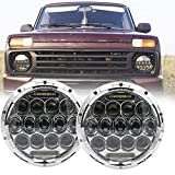 SOYAVISION DOT faro delantero redondo de 7 pulgadas con luz LED negra, luz de cruce, 75 W, para Jeep Wrangler JK TJ LJ CJ Hummber con adaptador H4 H13 (par), Plateado