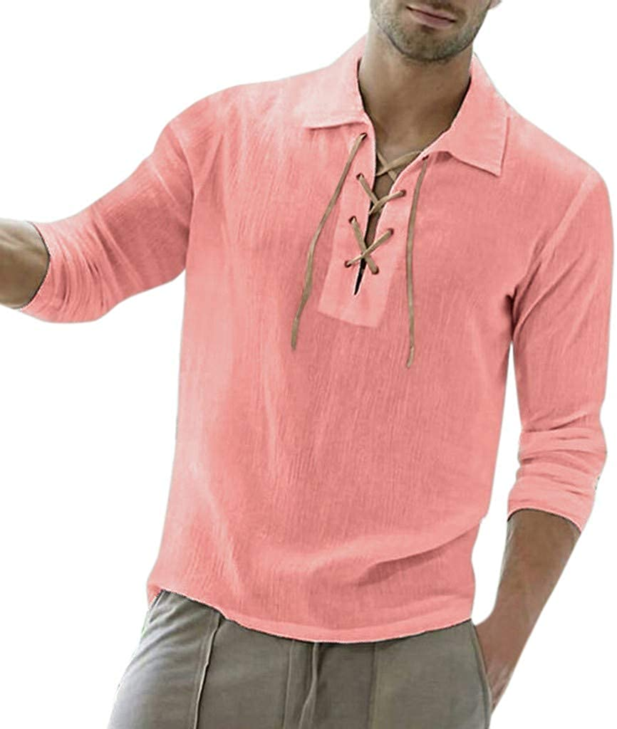 CTAU Top for Mens Blouse Classic Solid Baggy Cotton Blend Long Sleeve Turn-Down Collar Blouse Shirt